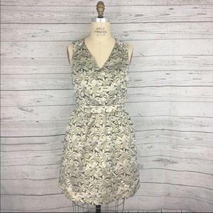 Karlie sleeveless metallic leaf party dress
